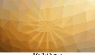 Yellow rays flashing and rotating on light yellow polygonal background. Abstract animation in pleasant color
