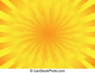 yellow rays pop art comic style background. retro vector illustration