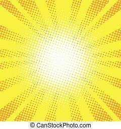 Yellow rays pop art retro comic background