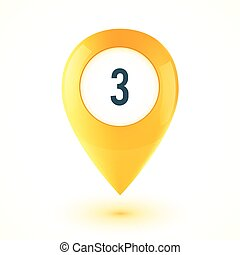 Yellow realistic 3D vector glossy map point symbol