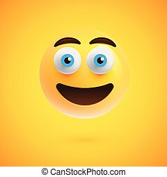 Yellow realistic emoticon smiley face, vector illustration