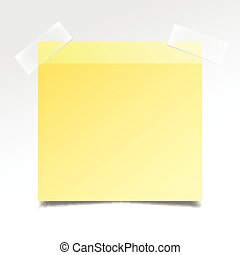 Yellow realistic stick note paper on white background