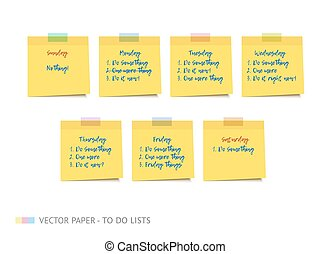 Yellow realistic vector sticky notes with shadow