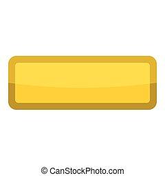 Yellow rectangle button icon, cartoon style