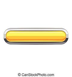 Yellow rectangular button icon, cartoon style