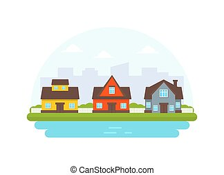Yellow, red and gray cottages against the background of the silhouette of the city. Vector illustration.