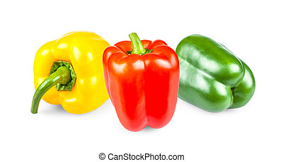Yellow, red and green peppers