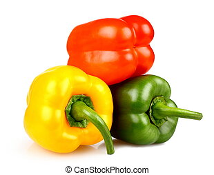 Yellow, red and green peppers on white background