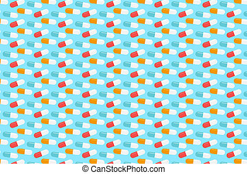 Yellow, red and white pills pattern. Blue medical background