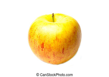 Yellow red apple on a white background