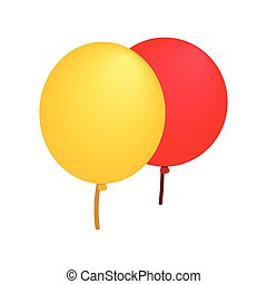 Yellow red balloons isometric 3d icon