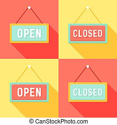 Yellow Red Cyan Open and Closed Signs Set