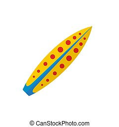 Yellow red dot surfboard icon, flat style