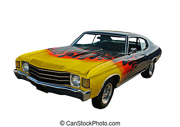 yellow blended to red flames, black hotrod on white