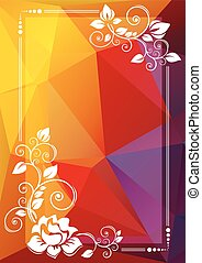 yellow red floral border - Abstract floral border on a...