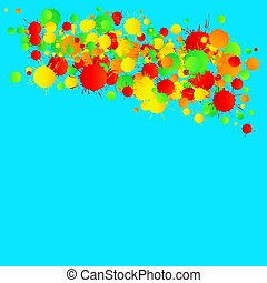 Yellow, red, green vector watercolor drops on the turquoise background