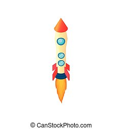 Yellow red rocket icon, cartoon style