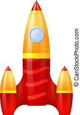 Yellow-red rocket isolated on white background. Cartoon. Vector