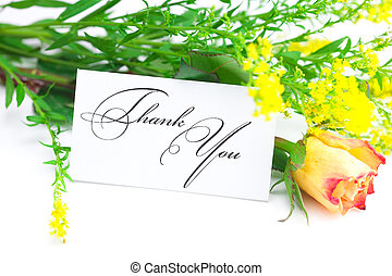 yellow red rose ,yellow field flower and a card with the words thank you isolated on white