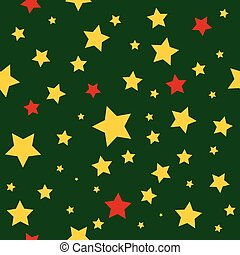 Yellow Red Stars Green Christmas Background.