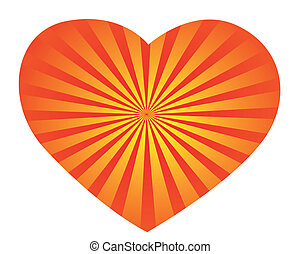 yellow-red striped heart on a white background