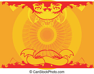 Yellow Red Symmetry Background Ornament