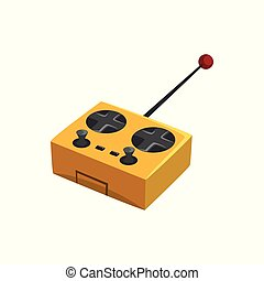 Yellow remote controller for quadcopter with antenna and different buttons. Flat vector icon of wireless joystick of drone