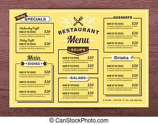 Yellow Restaurant menu template
