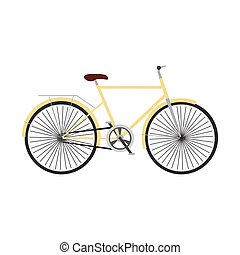 Yellow retro bicycle concept vector flat illustration design.