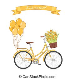 Yellow retro bicycle with tulip bouquet in floral basket and balloons attached to the trunk