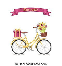 Yellow retro bicycle with tulip bouquet in floral basket and giftbox on trunk