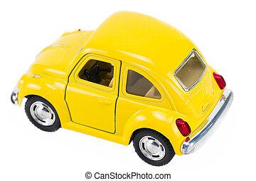 Yellow retro car isolated on white background