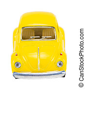 Yellow retro car isolated on white background