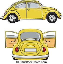 Yellow retro car. Vector