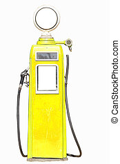 Yellow retro gasoline pump