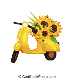 Yellow retro moped with sunflower colors on the seat. Vector illustration on white background.