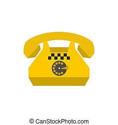 Yellow retro taxi phone icon, flat style