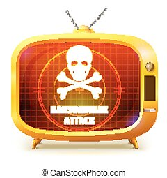 Yellow retro TV with alert about ransomware attack isolated on white background. White skull and crossbones on screen of TV. Symbol of hackers attack on your information.