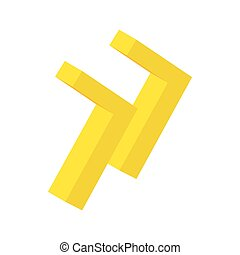 Yellow rewind button isometric 3d icon