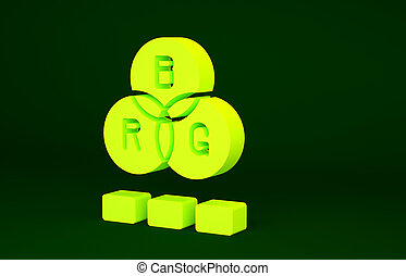 Yellow RGB color mixing icon isolated on green background. Minimalism concept. 3d illustration 3D render
