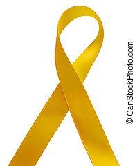 Yellow ribbon awareness isolated on white background