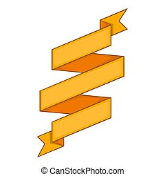 Yellow ribbon icon, cartoon style