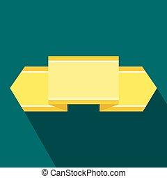 Yellow ribbon icon, flat style