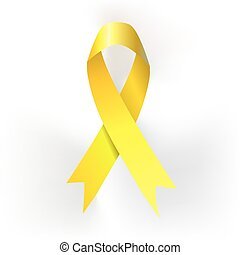 Yellow ribbon made of dots on white background. vector