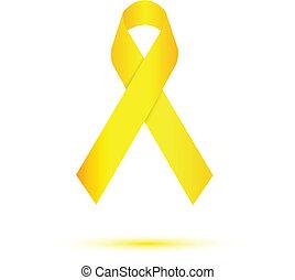 Yellow ribbon on white