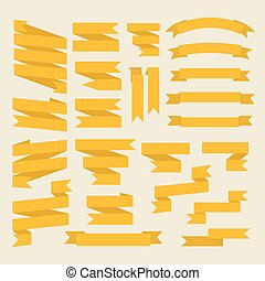 Yellow ribbons set in flat style isolated on white background.