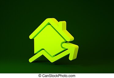 Yellow Rising cost of housing icon isolated on green background. Rising price of real estate. Residential graph increases. Minimalism concept. 3d illustration 3D render