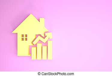 Yellow Rising cost of housing icon isolated on pink background. Rising price of real estate. Residential graph increases. Minimalism concept. 3d illustration 3D render
