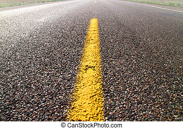 Yellow road dividing line on a desert road