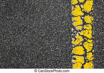 Yellow Road Marking Stripe On Asphalt Background